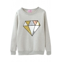 Diamond Pattern Round Neck Sweatshirt with Velvet