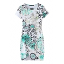 Floral Graffiti Round Neck Bodycon Dress with Short Sleeve