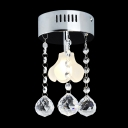 Mini Flush Mount Chandelier with Unique Floral Light and 3 Crystal Drops