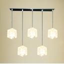 "21.5"" Length Hi-low Five-light Shinning Crystal Shade Mulit-Light Ceiling Fixture for Bar"