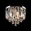Dazzling Crystal Rainfall Shade and Gleaming Chrome Finish Made Modern Flush Mount Ceiling Light Sophisticated Embellishment