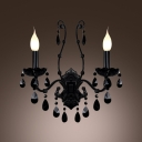 Mysterious Black Crystal Accents and Two Candelabra Style Lights Composed Modern Wall Sconce