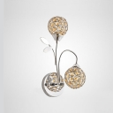 Beautiful Nature-inspired Two Lights Refined Wall Sconce Featuring Gleaming Crystal Beads Adorned Polished Chrome Finish Metal Frame