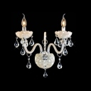 Curvaceous Dazzling Two Light Wall Sconce with Elegant Crystal Scrolling Arm and Drops