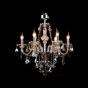Exclusively 6-Light  Amber Crystal Cascades Chandelier Ceiling Light
