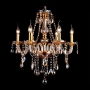 Traditional Golden 6-Light Stunning Crystal Chains and Drops Chandelier Lighting