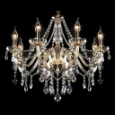 Unmatched Elegance 6-Light Gold Finished and Clear Crystal Bedroom Chandelier