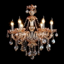 Jewel-Like Crystal Droplets Warm Chocolate Colored Crystal 6-Light Chandelier