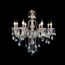 Eight-Light Traditional Candle Style Hanging Sparkling Crystal Drops Chandelier