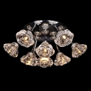 Timeless Semi-flush Ceiling Light Features Shimmering Gold Finish Clear Hand Cut Crystals