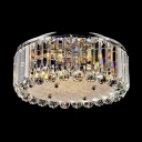 Modern Round Flush Mount Accented by Brilliant Crystal Prisms and Spheres