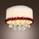 Red Flower Accented Fabric Shade Rounded Flush Mount Dropped Hand Cut Crystal Droplets