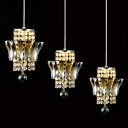 Sophisticated Multi-Light Pendant Features Dazzling Clear Crystal Beads and Delicate Square Base