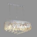 Graceful Island Light Completed with Beautiful Silver Rectangular Shade and Hand-cut Crystal Drops