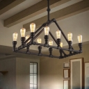 Black 12 Light Chandelier in Vintage Style