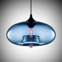 Colored Glass LOFT Industrial Oval Shaped Chandelier Pendant
