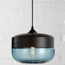 Industrial Tank Shade Black Socket Colored Pendant Light