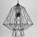 Black Iron Diamond Cage Pendant Lighting with 1 Light