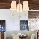 "Fabric Shades  Designer Chandelier with Adjustable Chain Three Lights 23.6""High"