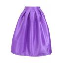 Bright Color High Waist Pleated Maxi Skirt