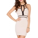 Contrast Binding Cutout Style Modern Sleeveless Elastic Slim Dress