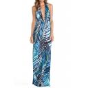 Tropical Beach Plants Print Maxi Plunge Neck Halter Blue Dress