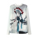Beijing Opera Character Print Lace Collared Long Sleeve Blouse