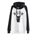 Letter and Cat  Pattern Hooded Pullover with Pocket Front