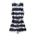 Round Neck Sleeveless Dark Blue Stripe Print Rompers with Tie Waist