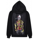 Ribboned Skeleton Print Black Hoodie