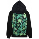 Green Maple Leaf Print Hoodie with Drawstring Front