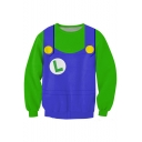 Green Super Mario Uniform Print Sweatshirt