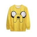 Cute Mr.Banana Face Print Yellow Sweatshirt