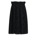 Polka Dot Chiffon Midi Skirt with Elastic Waist