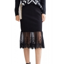 Plain Lace Inserted Midi Skirt with Zip Back