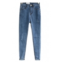 Pure Blue Light Wash Pencil Jeans with Zip Fly