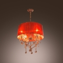 Classic Four Lights Bold Design Red Gauze Shaded Chandelier Accented by Sparkling Crystal Droplets