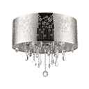 Functional and Beautiful Swirling Cutout Motif Metal Dum Shade Flush Mount Ceiling Light