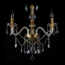 Lustrous Three Lights Crystal Mini Chandelier Dropped Beautiful Crystal Droplets and Crystal Shades