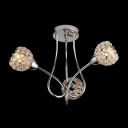 3-lights Artful Semi Flush Ceiling Light Accented by Elegant Scrolls and Crystal Beaded Shades
