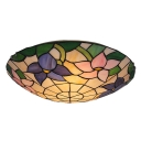 Colorful Flowers Pattern Romantic Tiffany Two Lights Flush Mount Ceiling Light