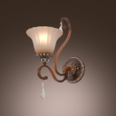 Exquisite Single Light Up Lighting Etched Wrought Iron Wall Sconce with Bell Glass Shade and Brass Finish