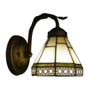 Craftsman 6 Inch Wide Glass Shade Up or Down Lighting Tiffany Wall Sconce in Blue/Green