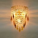 Attractive Three-light Gold Finish  Wall Sconce Embellished with Sparkling Two Tiers of Crystal Falls