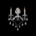 Gleaming Polished Crystal Drops and Delicate Silver Base Composed Stunning Wall Sconce with Two Candle Lights