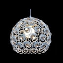 White Chic Modern Novelty Mini Dome Shape Pendant with Round Crystal Beads