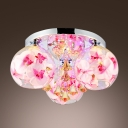 Glamorous Flush Mount Ceiling Light with Stunning Orchid Flowers and Engraving Clear Glass Shade