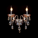 Two Candelabra Fixture Illuminate this Regal Sparkling Crystal Wall Sconce