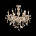 Six-Light Gorgeous Amber Crystal Pendaloques and Beads Traditional Chandelier