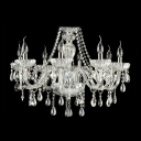 Faceted Clear Crystal Beads and Droplets 7 Candle Lights Chandelier